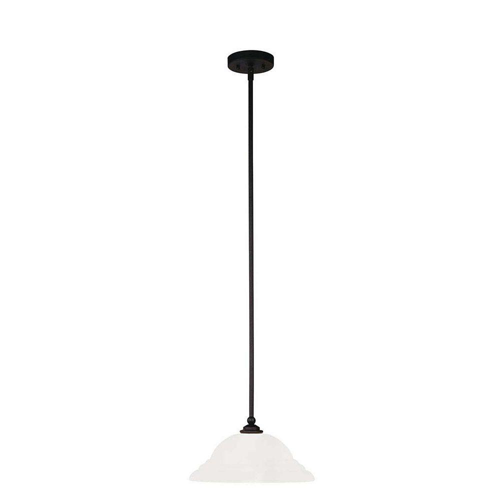 Illumine Providence 1 Light Black Incandescent Pendant with White Alabaster Glass