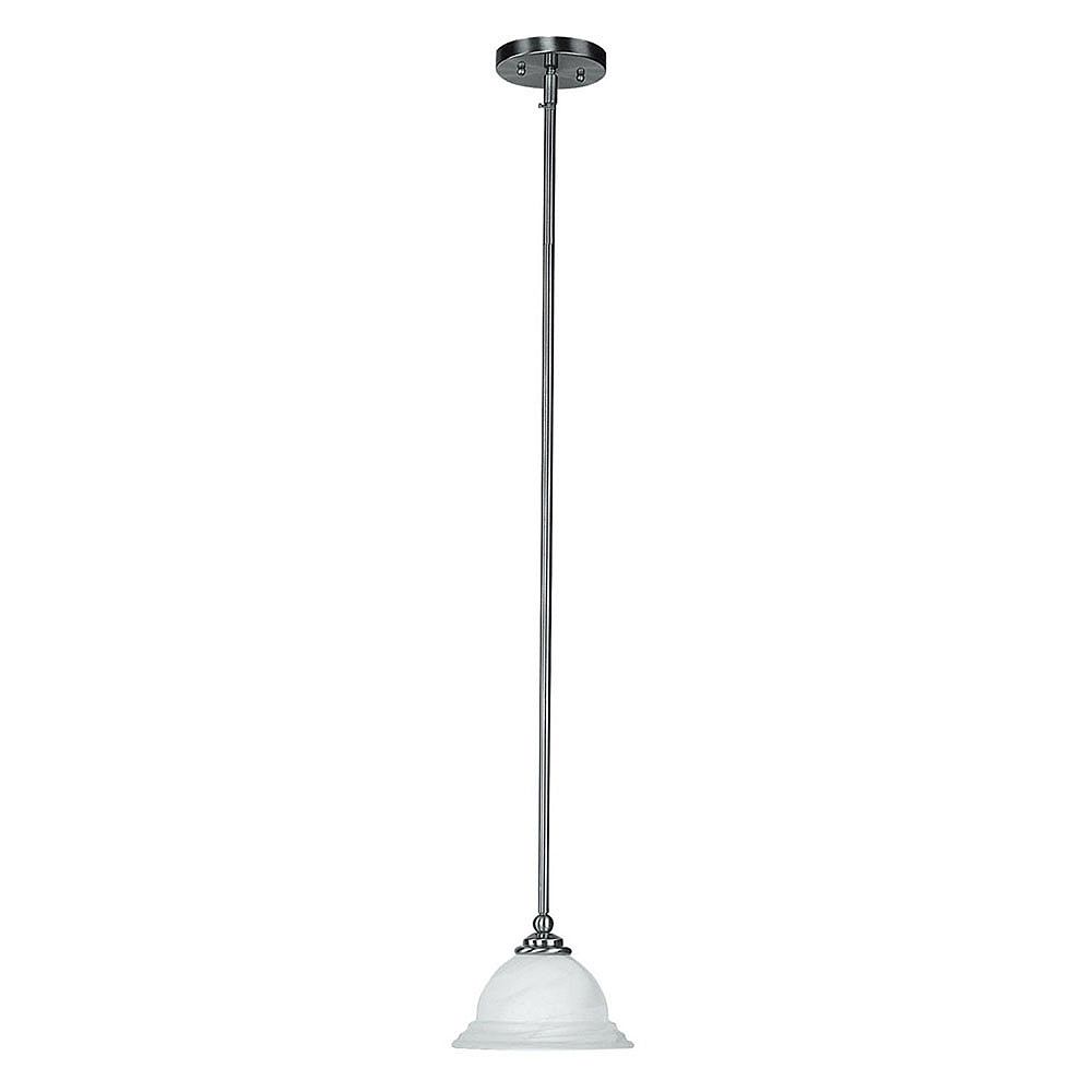 Illumine Providence 1 Light Brushed Nickel Incandescent Mini Pendant with White Alabaster Glass