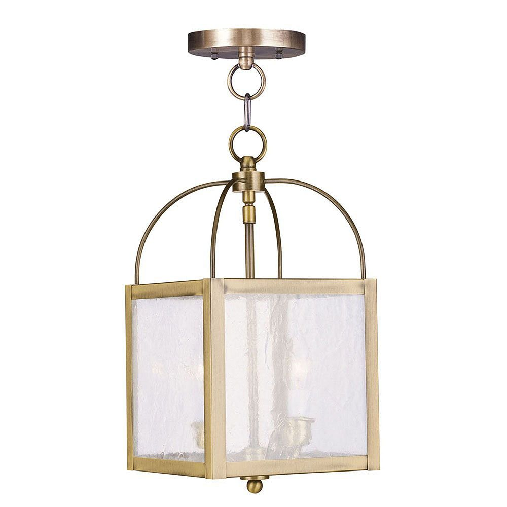 Illumine Providence 2 Light Antique Brass Incandescent Pendant with Seeded Glass