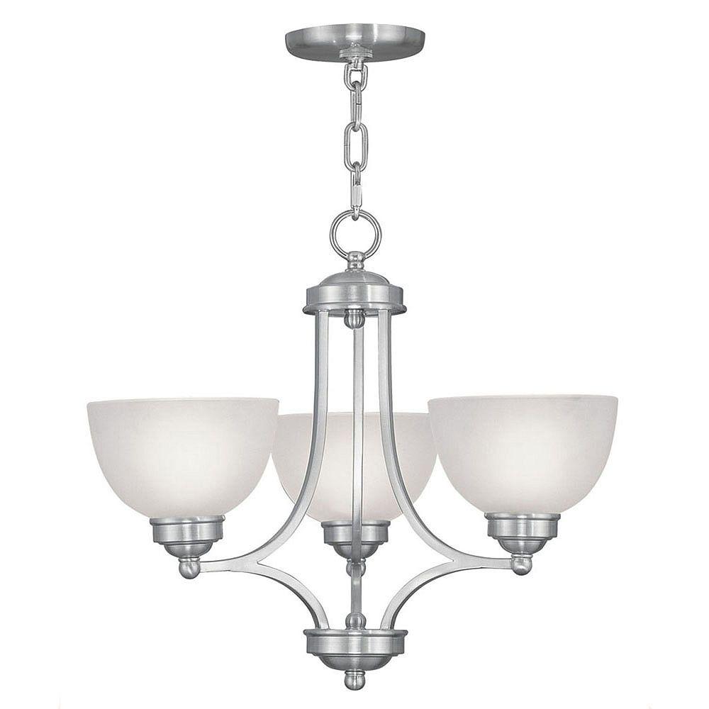 Illumine Providence 3-Light Brushed Nickel Chandelier with Satin Glass