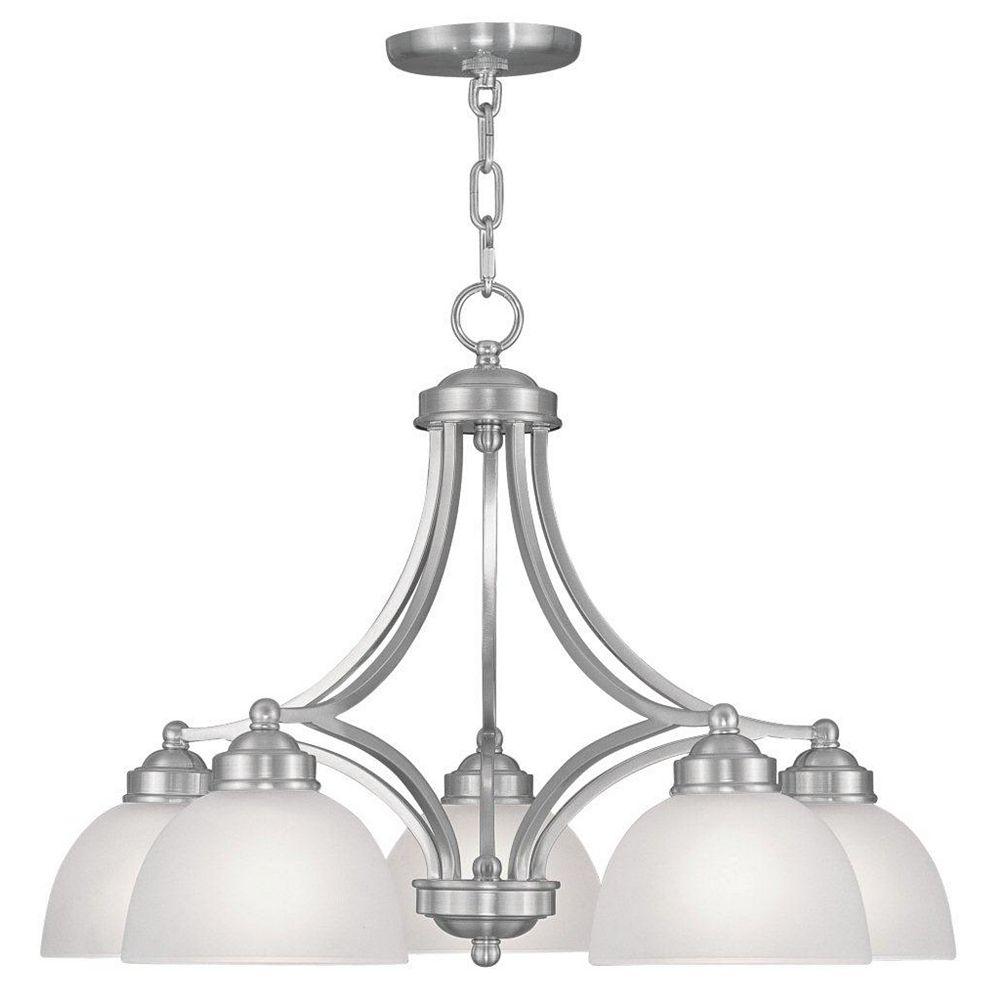 Illumine Providence 5-Light Brushed Nickel Chandelier with Satin Glass