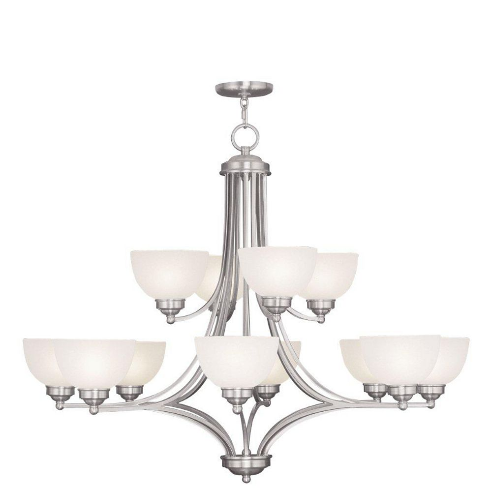 Illumine Providence 8 Light Brushed Nickel Incandescent Chandelier with Satin Glass