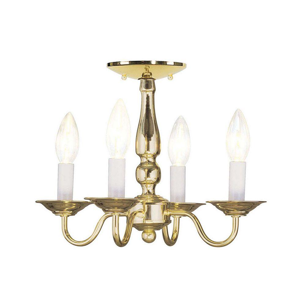 Illumine Providence 4-Light Bright Brass Chandelier