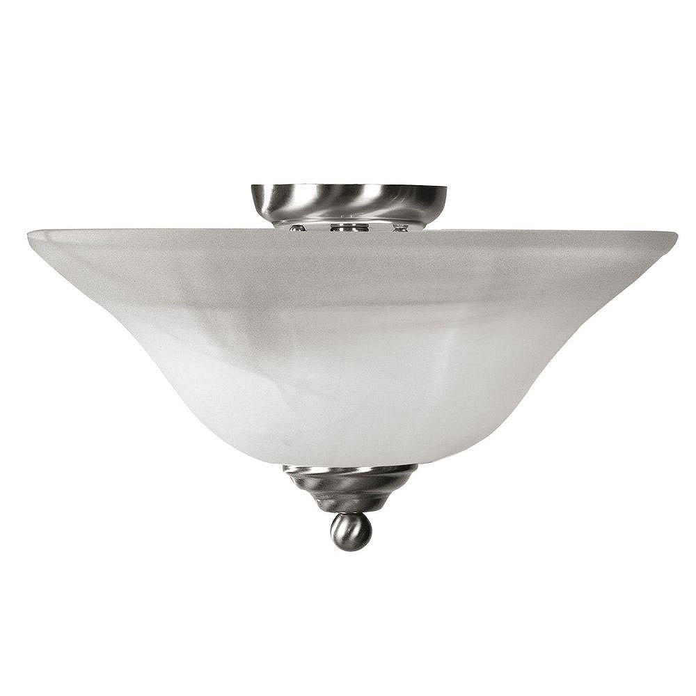 Illumine Providence 3-Light Brushed Nickel Semi Flush Mount with White Alabaster Glass