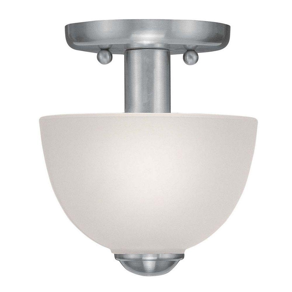 Illumine Providence 1-Light Brushed Nickel Semi Flush Mount with Satin Glass