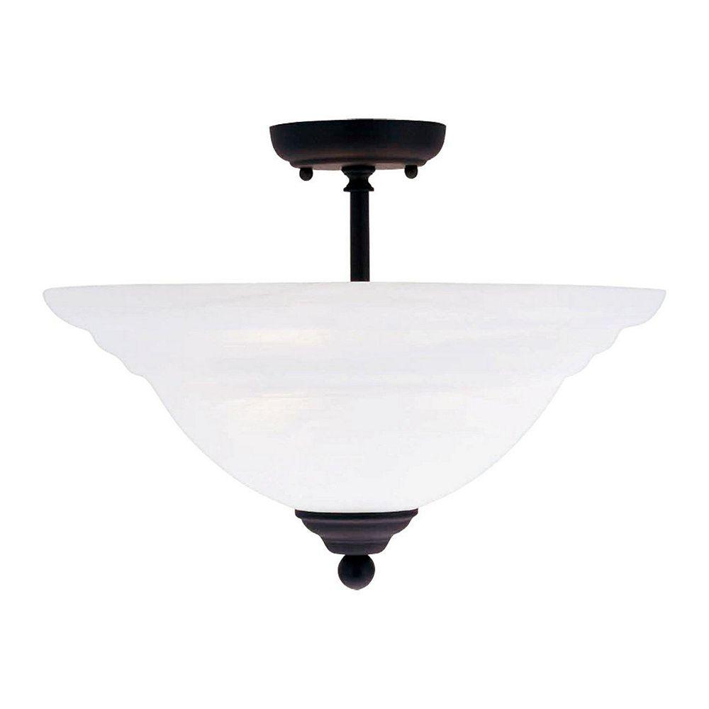 Illumine Providence 3-Light Black Semi Flush Mount with White Alabaster Glass