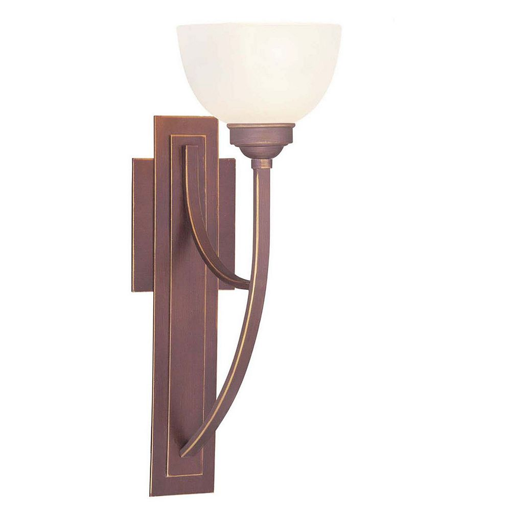 Illumine Providence 1 Light Bronze Incandescent Wall Sconce with Satin Glass