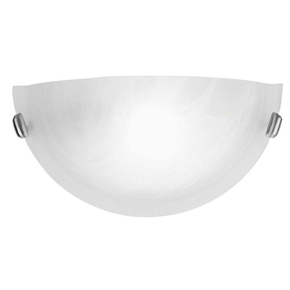 Illumine Providence 1-Light Brushed Nickel Wall Sconce with White Alabaster Glass