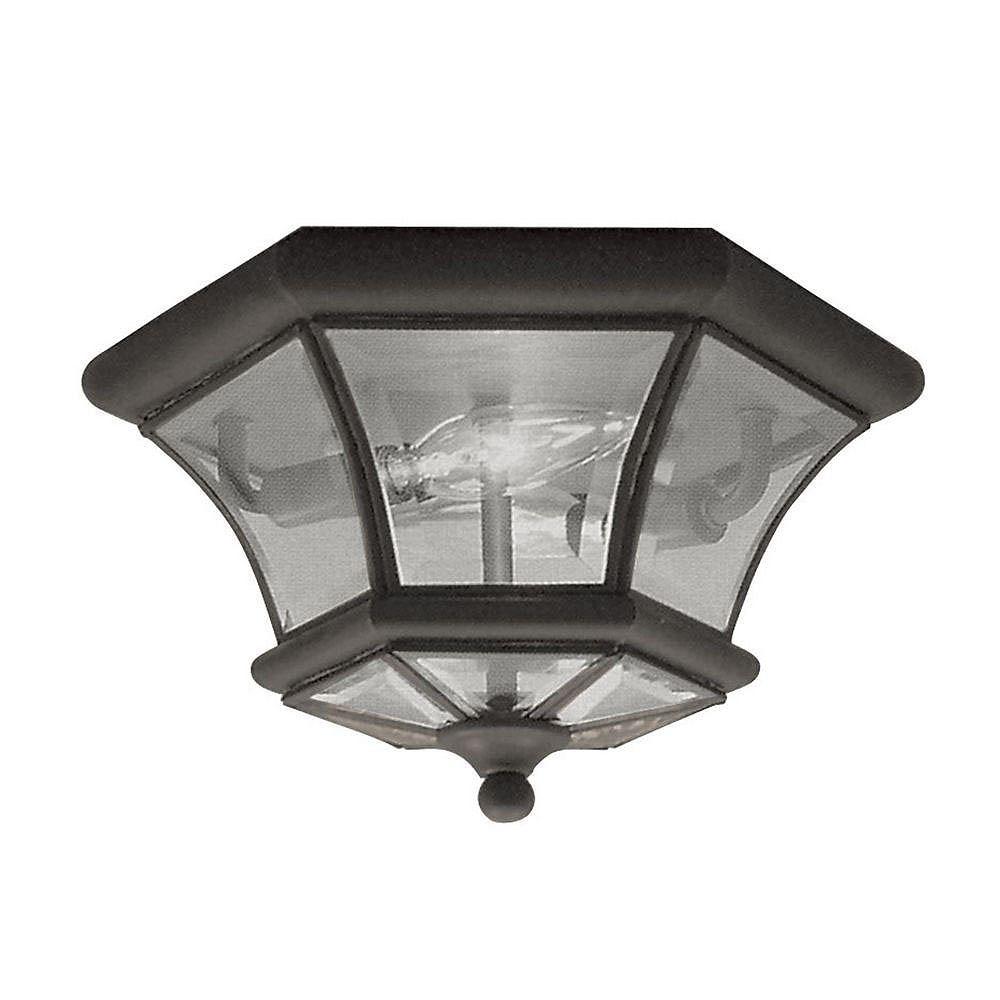 Illumine Providence 2 Light Bronze Incandescent Semi Flush Mount with Clear Beveled Glass