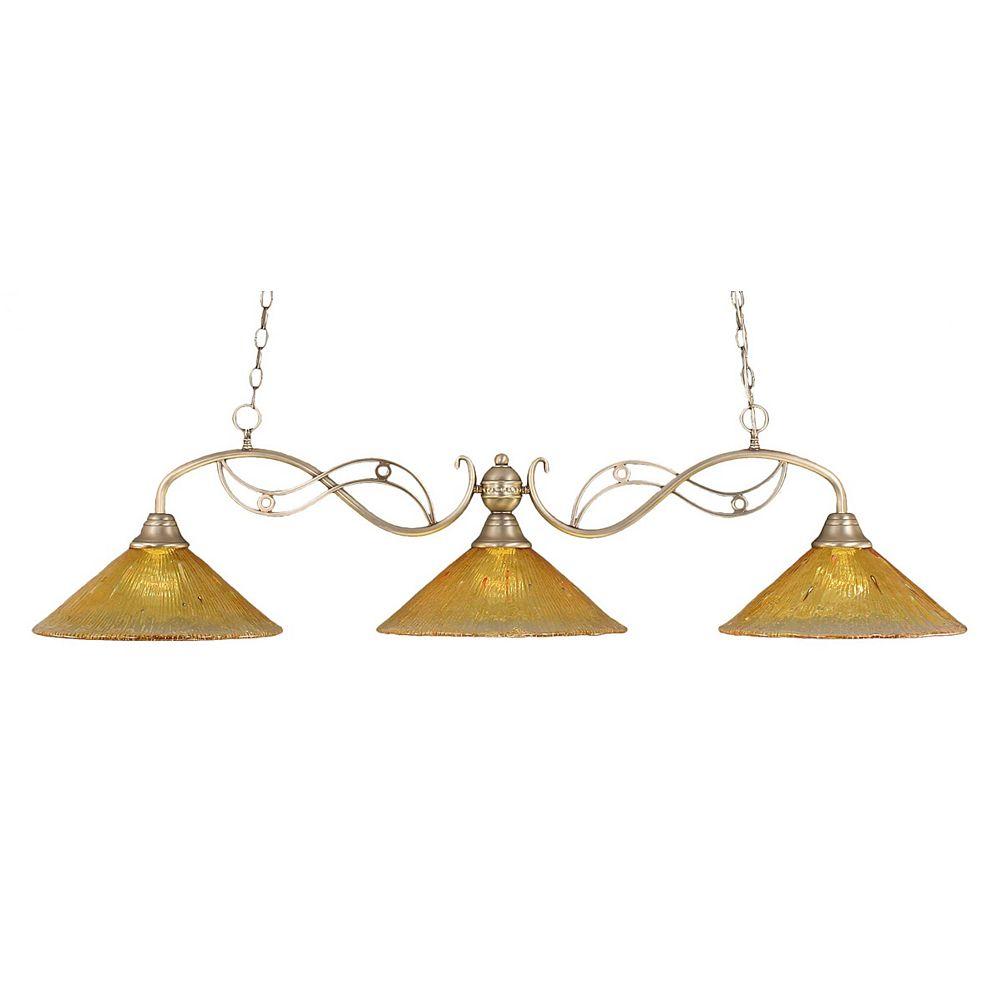 Filament Design Concord plafond 3 lumières, nickel brossé à incandescence Bar Billard avec de l'or Champagne Cristal