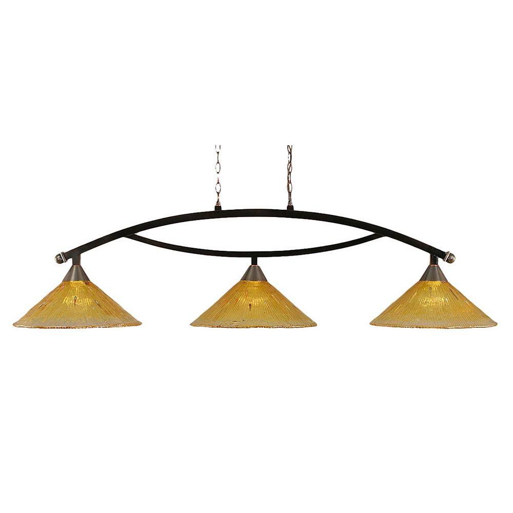 Filament Design Concord 3 lumières plafond noir cuivre incandescent Bar Billard avec de l'or Champagne Cristal