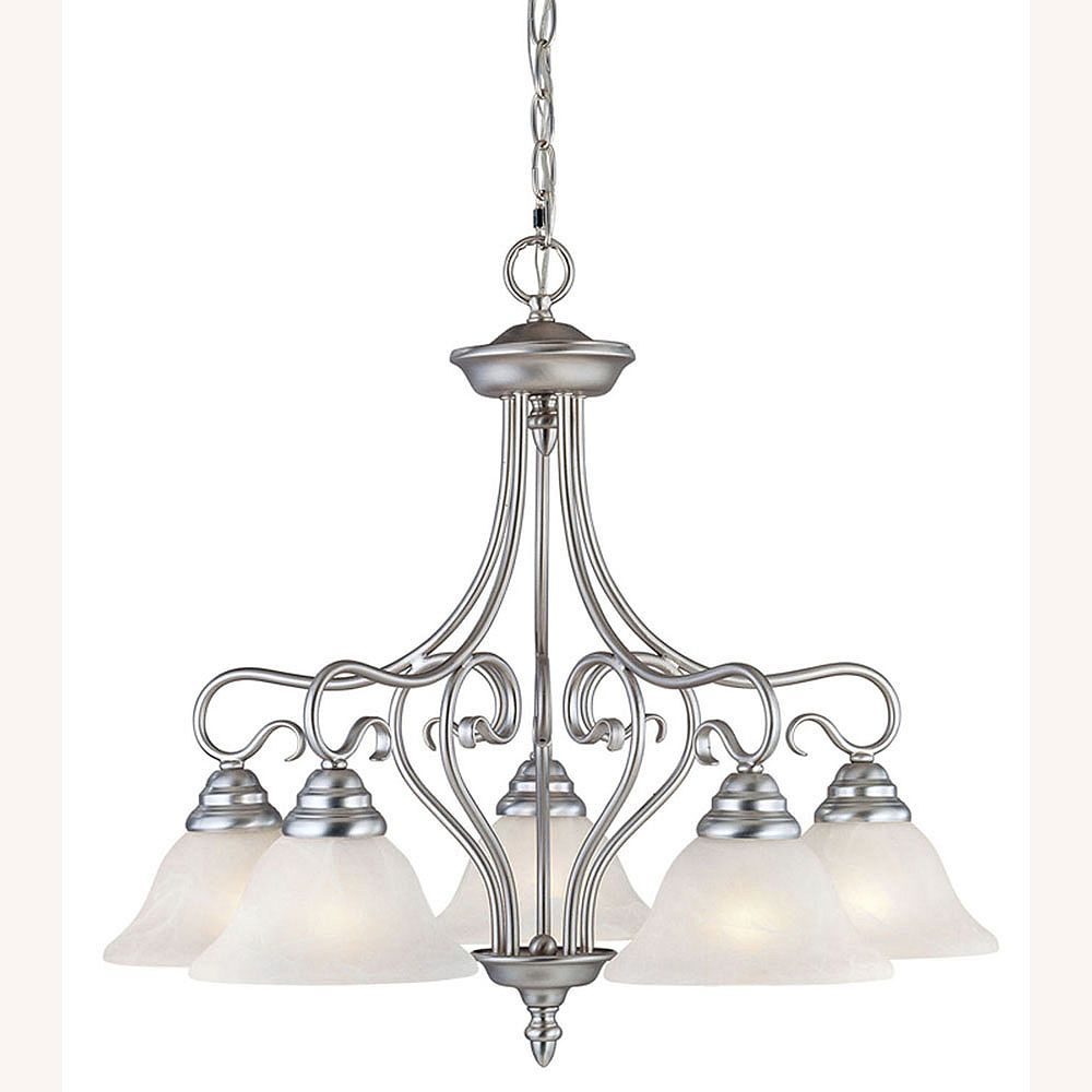 Illumine Providence 5 Light Brushed Nickel Incandescent Chandelier with White Alabaster Glass