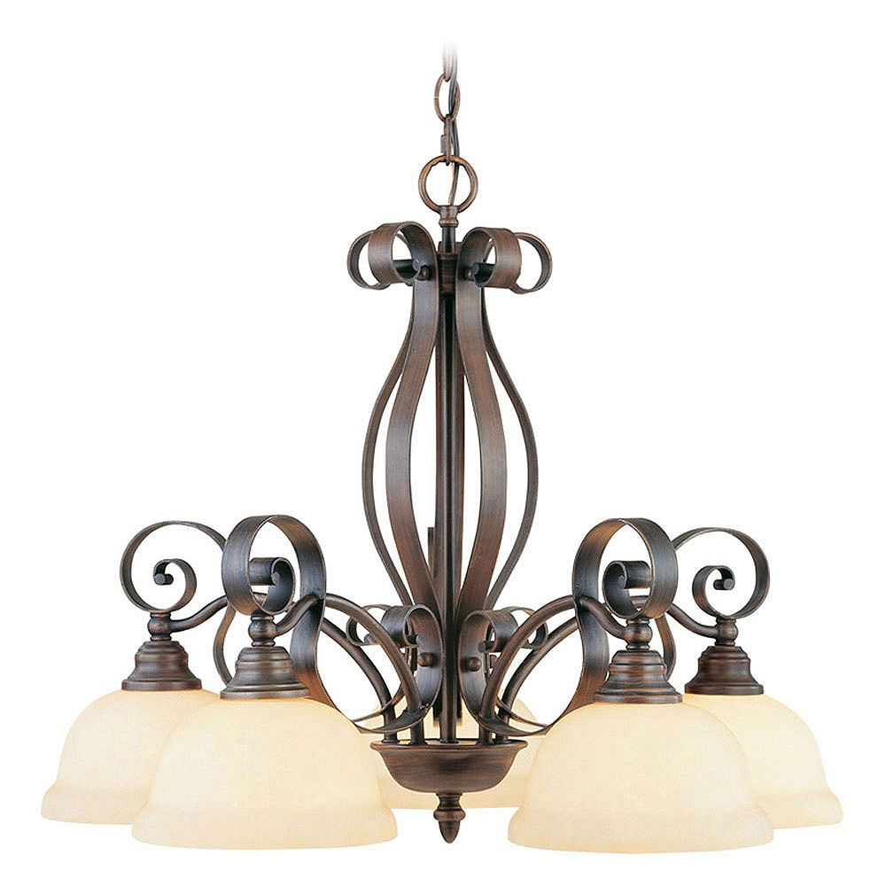 Illumine Providence 5-Light Imperial Bronze Chandelier with Vintage Scavo Glass
