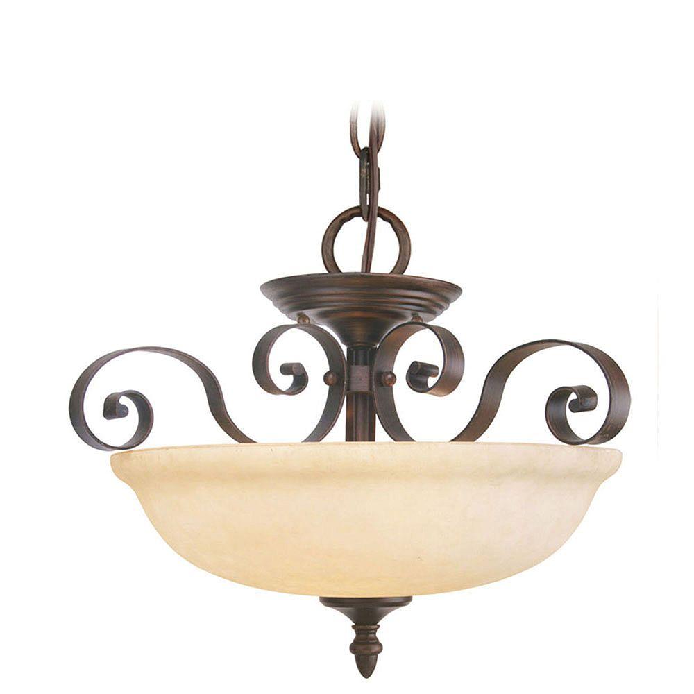 Illumine Providence 3-Light Bronze Semi Flush Mount with Vintage Scavo Glass