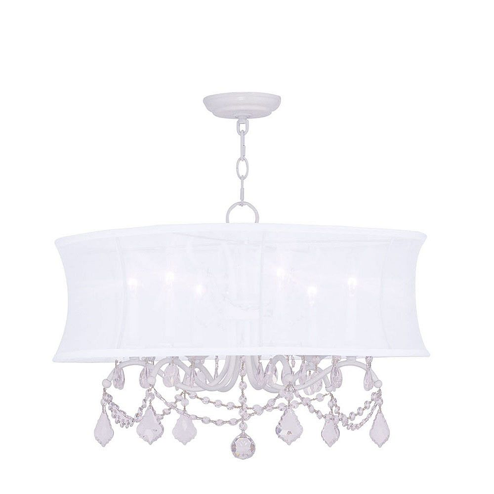 Illumine Providence 6 Light White Incandescent Chandelier with an Off White Silk Shimmer Shade