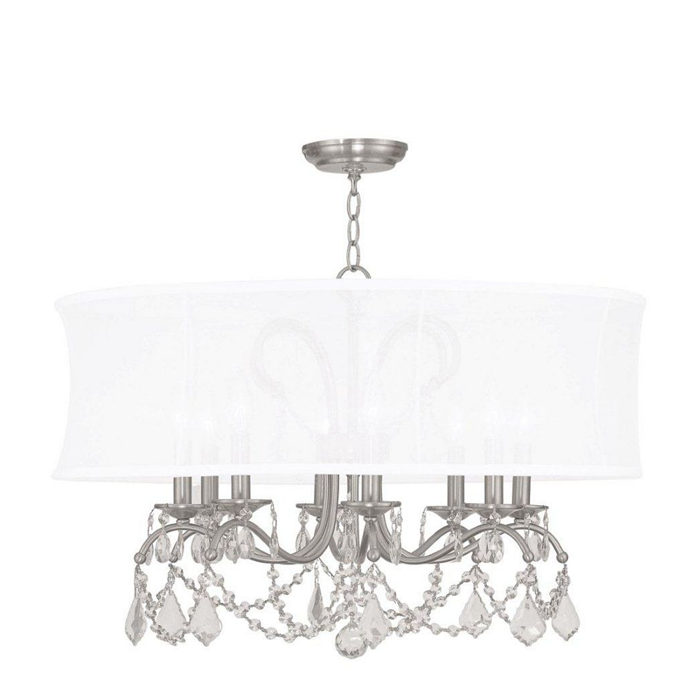 Illumine Providence 8 Light Brushed Nickel Incandescent Chandelier with an Off White Silk Shimmer Shade