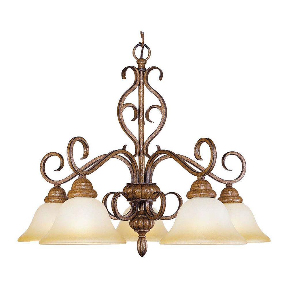 Illumine Providence 5 Light Golden Bronze Incandescent Chandelier with Art Glass