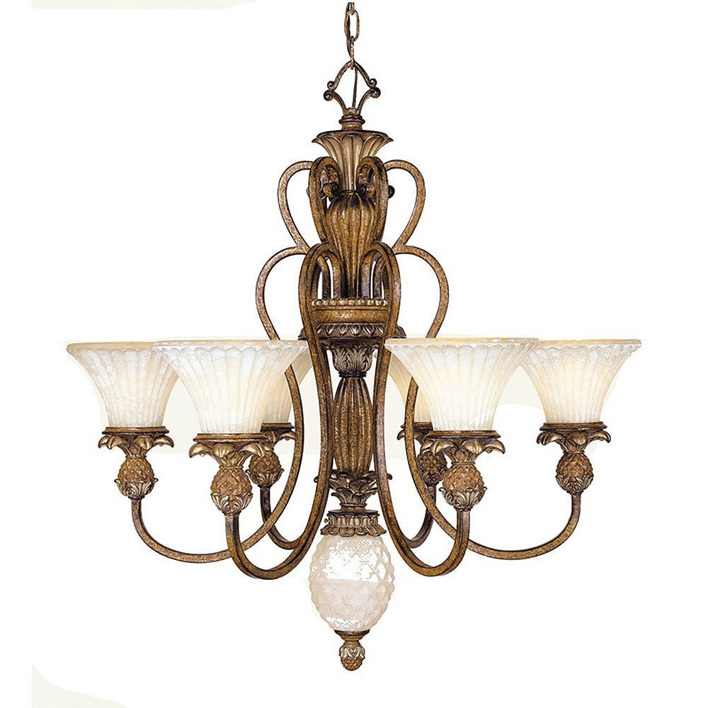 Illumine Providence 6 Light Golden Bronze Incandescent Chandelier with Vintage Carved Scavo Glass