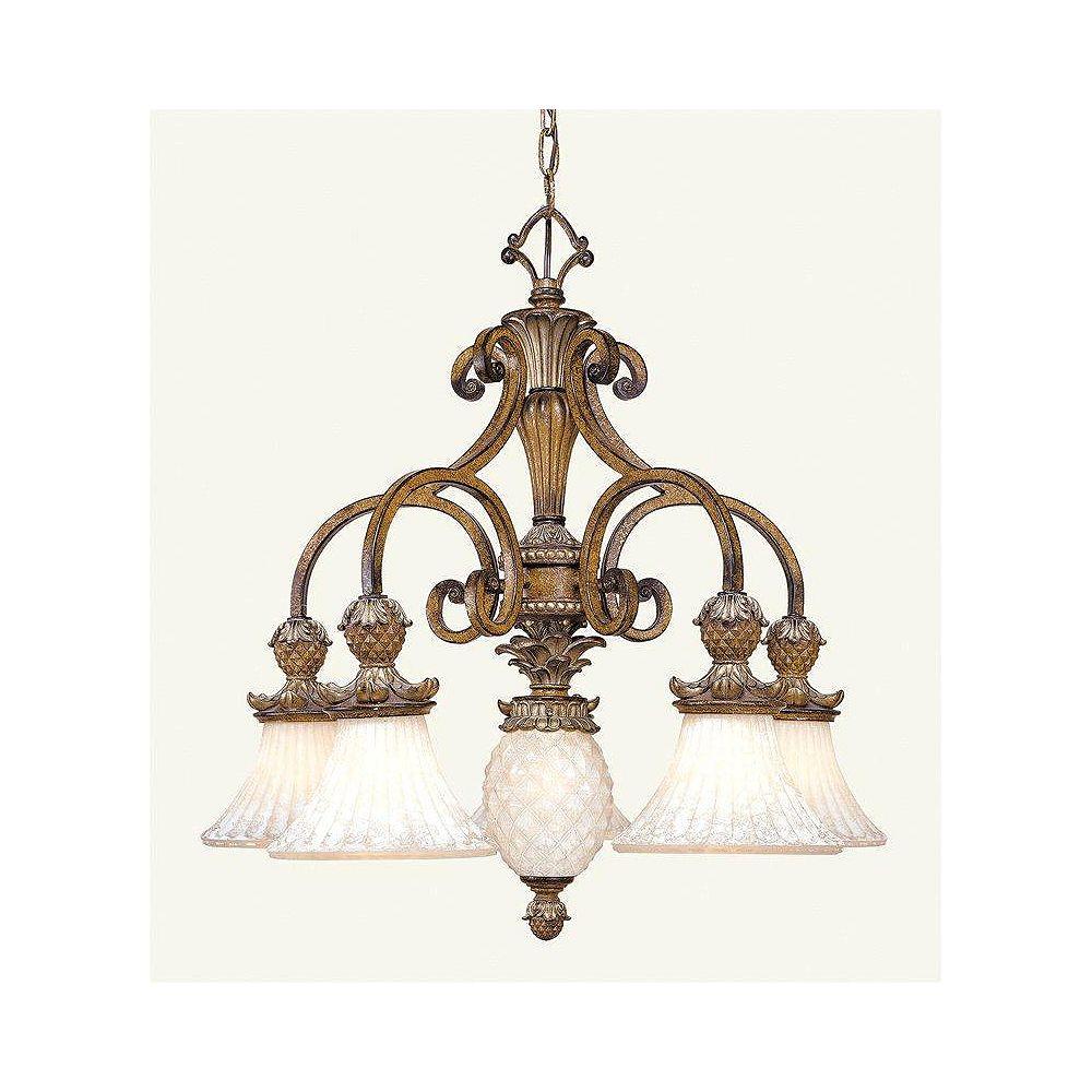 Illumine Providence 6 Light Golden Bronze Incandescent Chandelier with Vintage Carved Scavo Glass