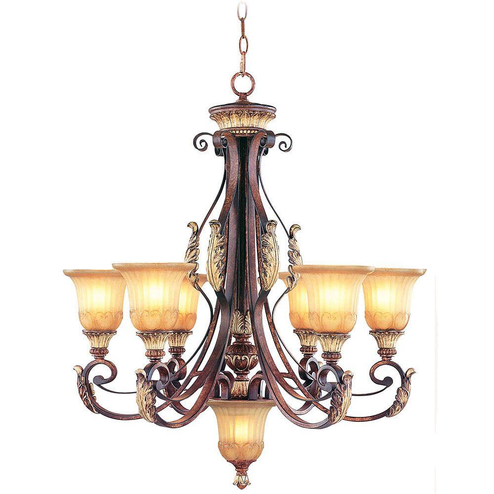 Illumine Providence 6 Light Bronze Incandescent Chandelier with Rustic Art Glass
