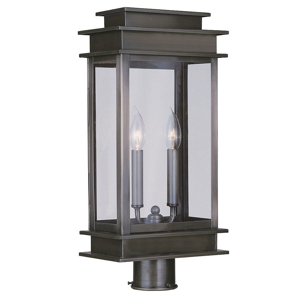 Illumine Providence 2 Light Pewter Incandescent Post Head with Clear Glass