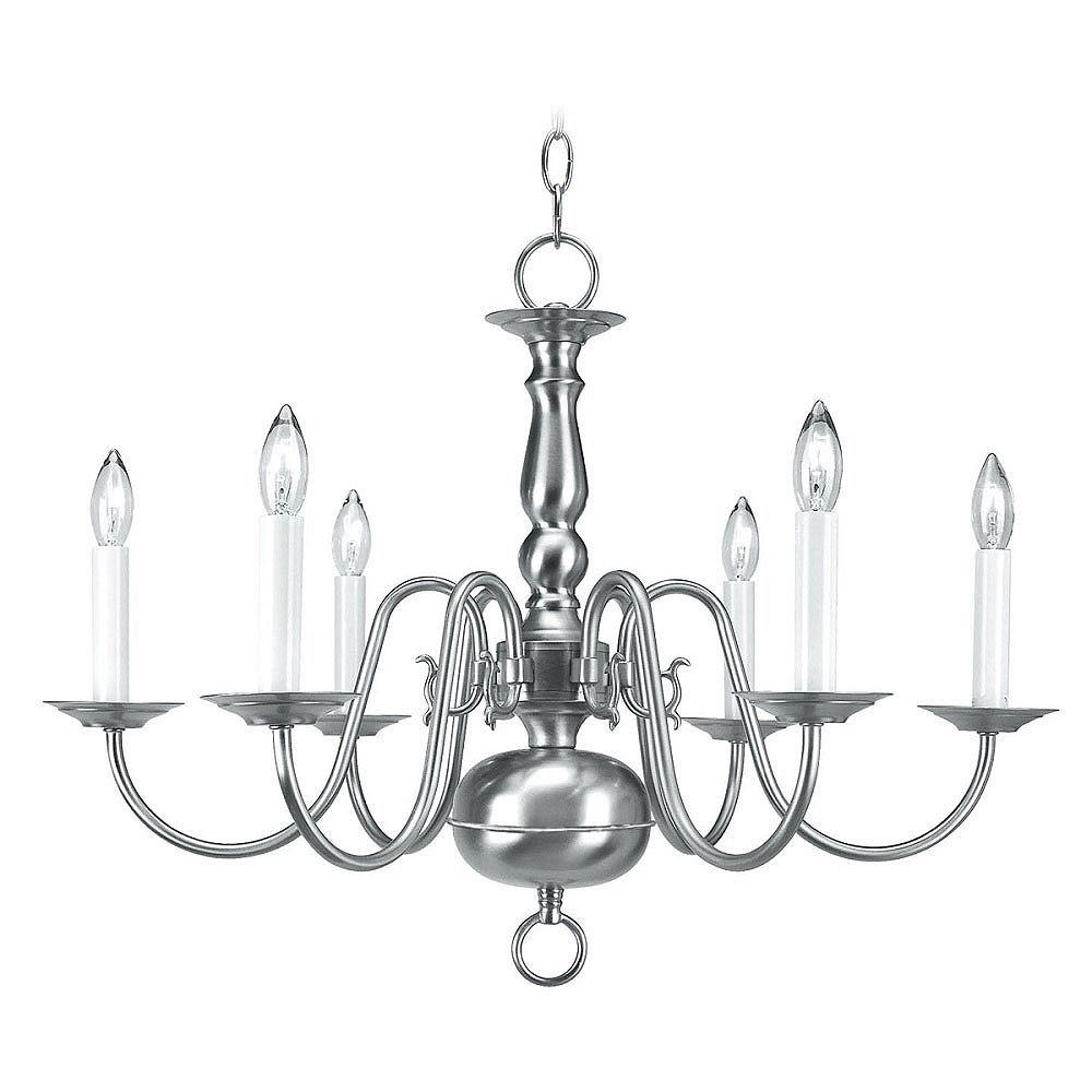 Illumine Providence 6-Light Brushed Nickel Chandelier
