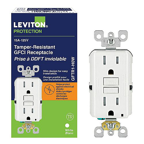 Decora 15 Amp Tamper-Resistant Slim GFCI Receptacle/Outlet with Monochromatic Buttons
