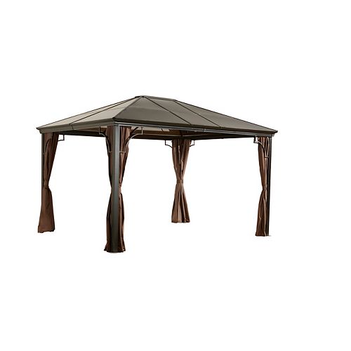 Sumatra 10 ft. x 12 ft. Patio Gazebo in Dark Brown
