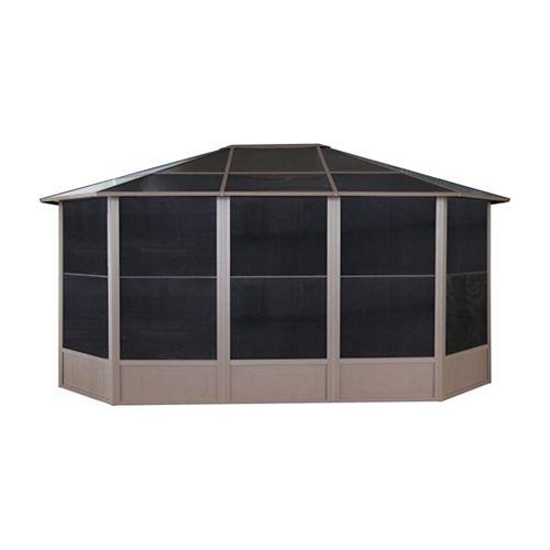 Korado 12 ft. x 15 ft. Octagonal Solarium with 2 Sliding Doors in Caramel