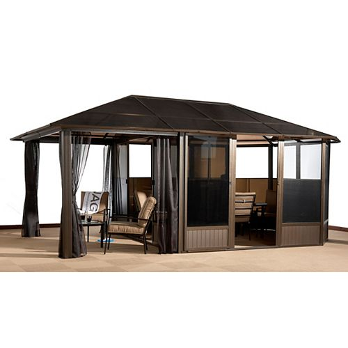 Veranda 13 ft. x 20 ft. Solarium with Sun Shelter Extension in Bronze