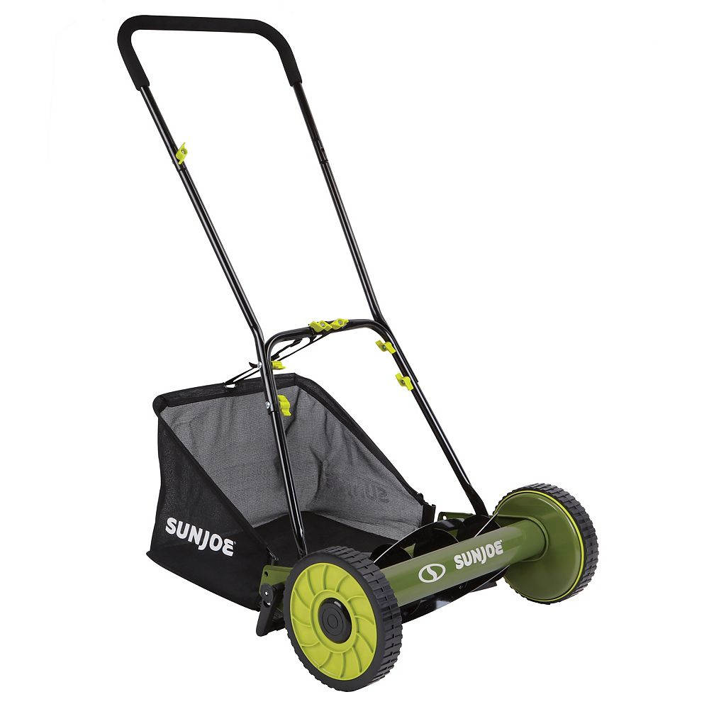 Sun Joe Mow Joe 16-inch Manual Reel Lawn Mower with Grass Catcher