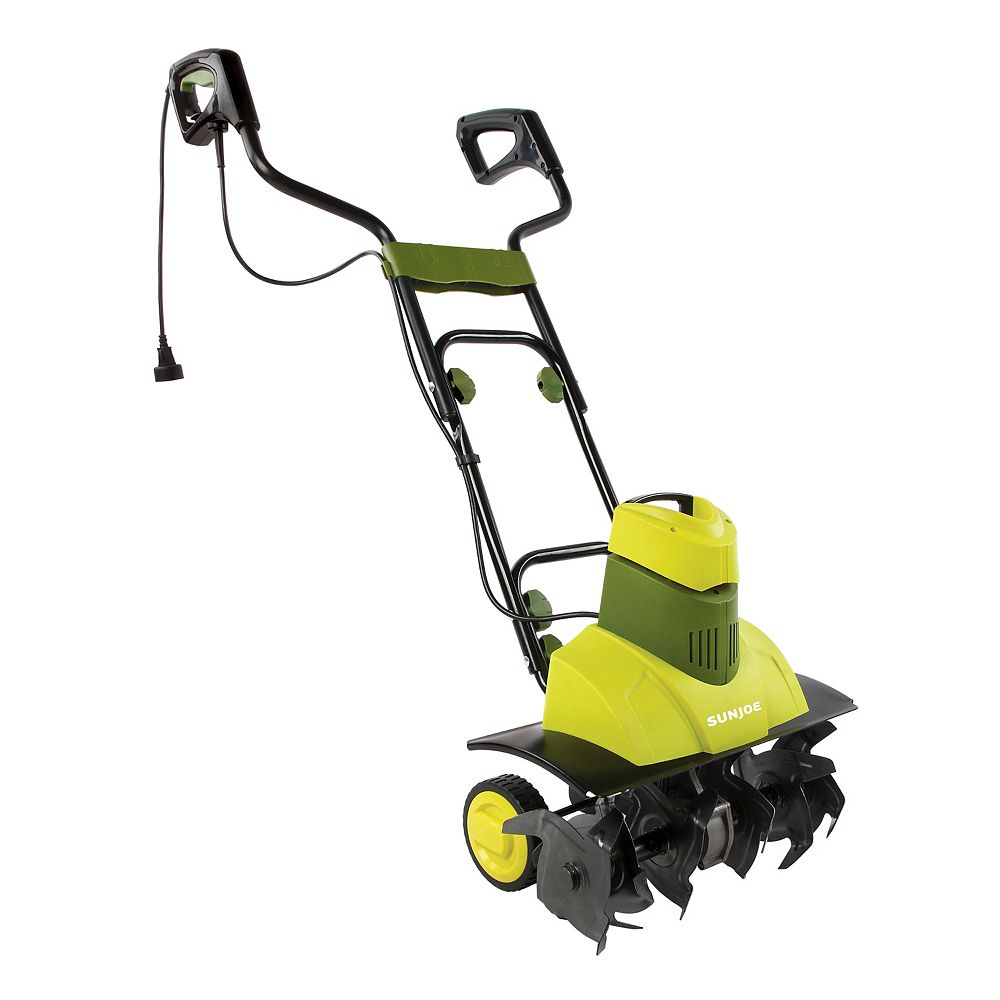 Sun Joe Cultivateur électrique Tiller Joe Max 18 po 9 A à 6 fourchons dacier, roues et poignée ergonomique