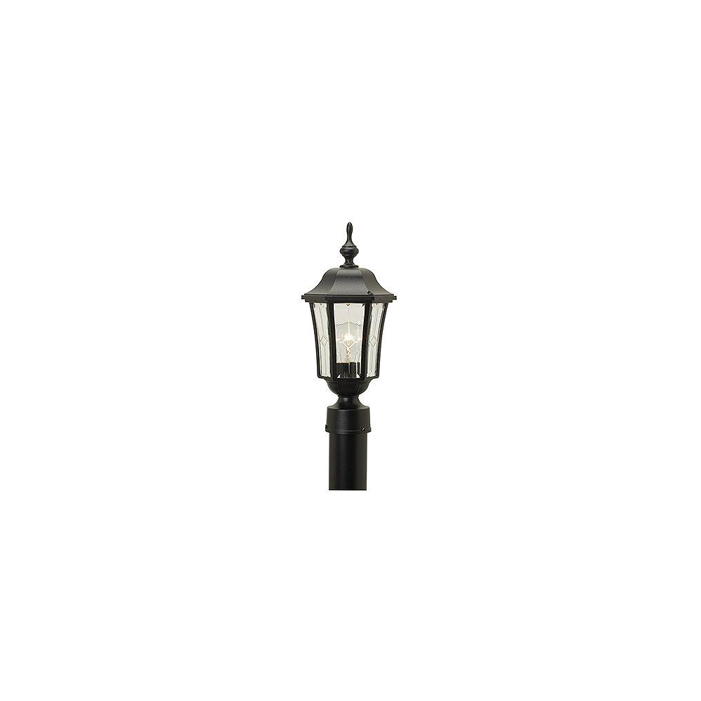 Snoc Vision, luminaire sur poteau, panneaux de verre à motif et contours biseautés, noir (poteau non-inclus)