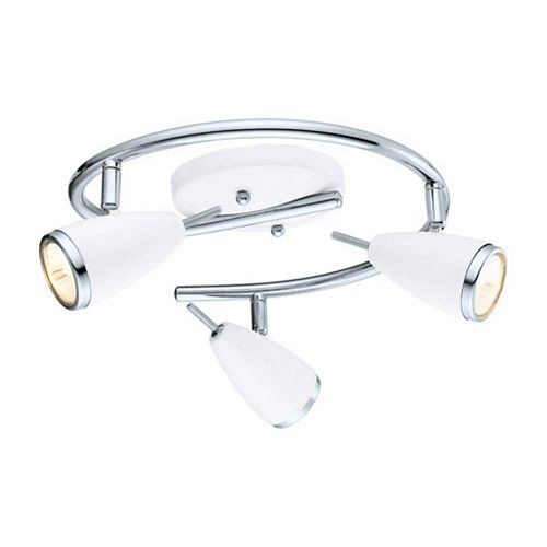 Riccio 3-Light Ceiling Light Fixture in Chrome with High Gloss White Shades