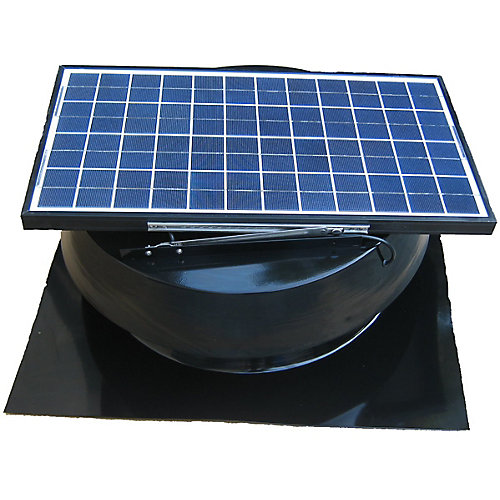 Solar Attic Fan, Roof Mount 25 Watt, Black