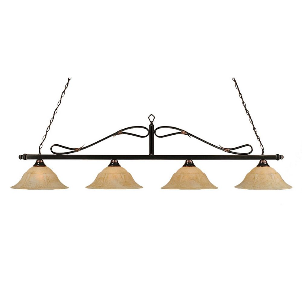 Filament Design Concord 4 Light Ceiling Black Copper Incandescent Billiard Bar with an Italian Marble Glass