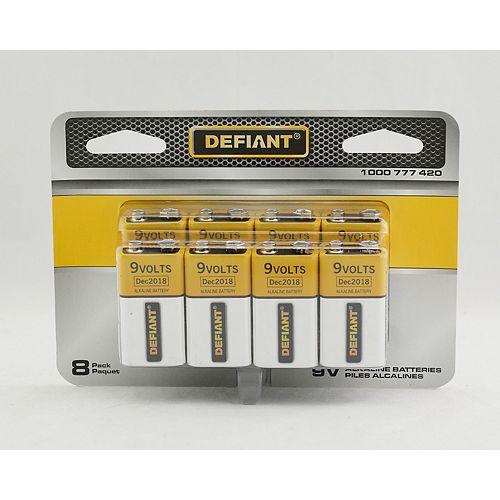 Defiant 9V Alkaline Battery PDQ (8-Pack)
