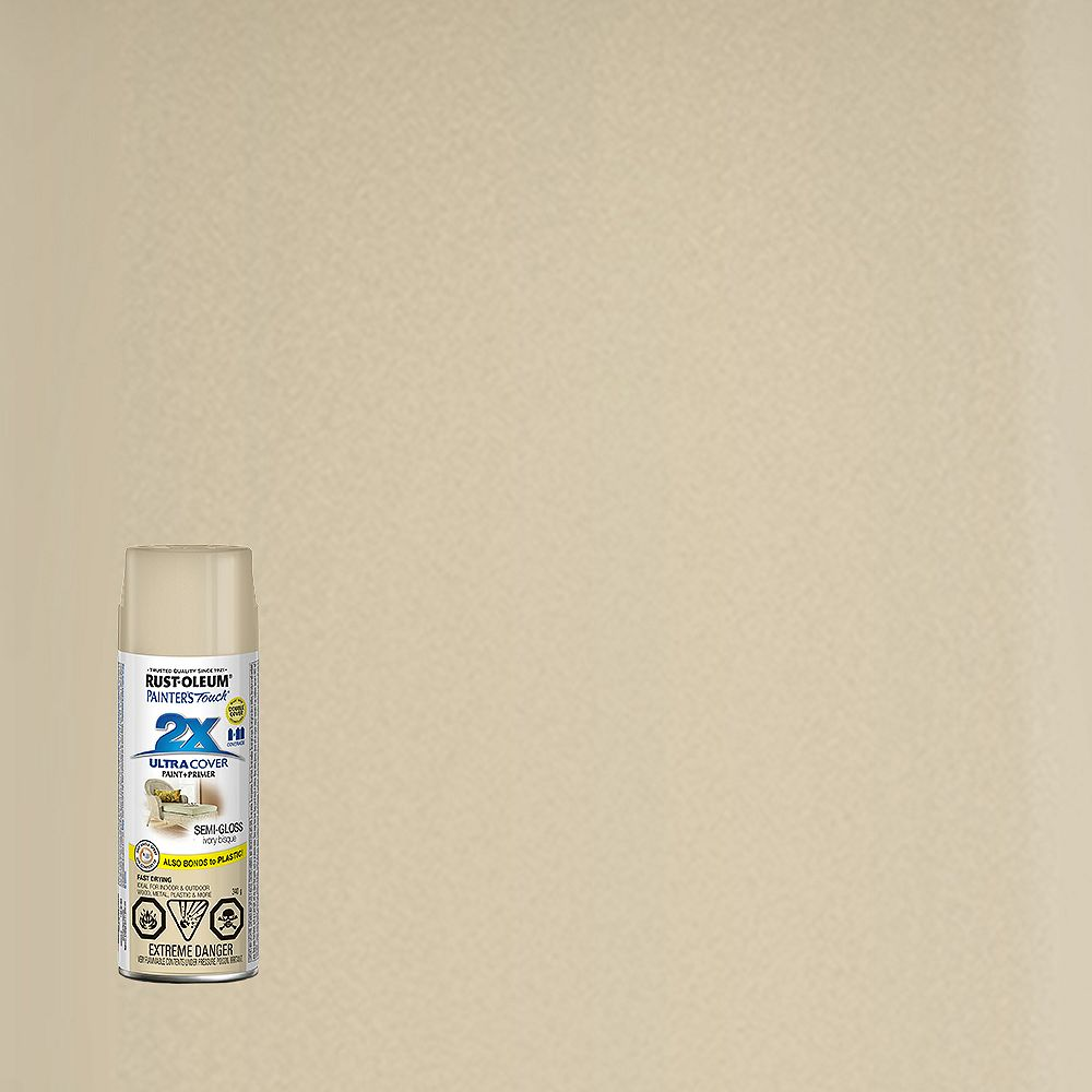 Rust-Oleum Painter's Touch 2X Ultra Cover Multi-Purpose Paint And Primer in Semi-Gloss Ivory Bisque, 340 G Aerosol Spray Paint