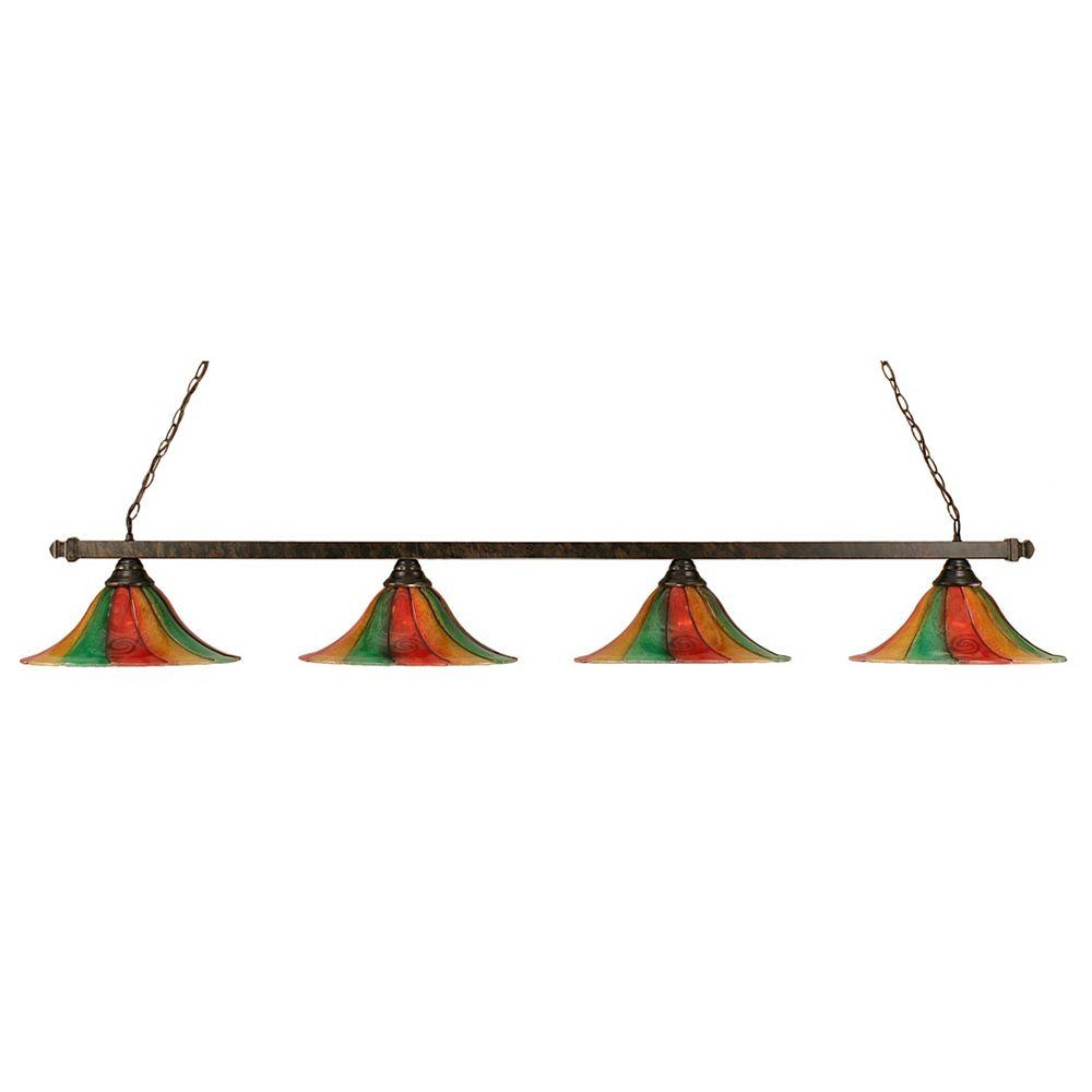 Filament Design Concord 4 lumières plafond Bronze Incandescent Bar Billard Avec Un Mardi Gras verre