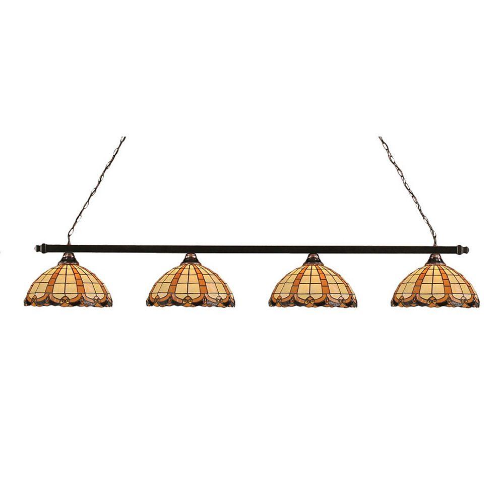Filament Design Concord 4 Light Ceiling Black Copper Incandescent Billiard Bar with a Butterscotch Tiffany Glass