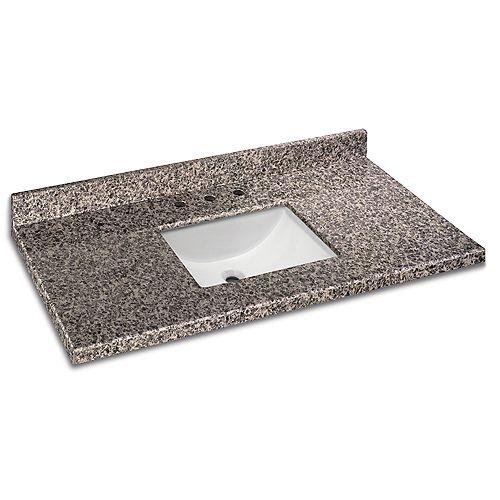 49-inch W x 22-inch D Granite Vanity Top in Sircolo with White Single Trough Basin