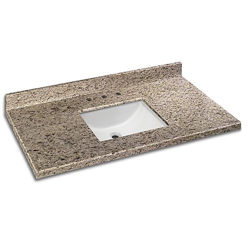49 Inch x 22 Inch Giallo Ornamental Granite Vanity Top with Trough Bowl