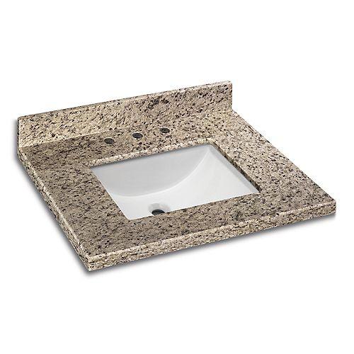31-inch x 22-inch Giallo Ornamental Granite Vanity Top with White Trough Basin