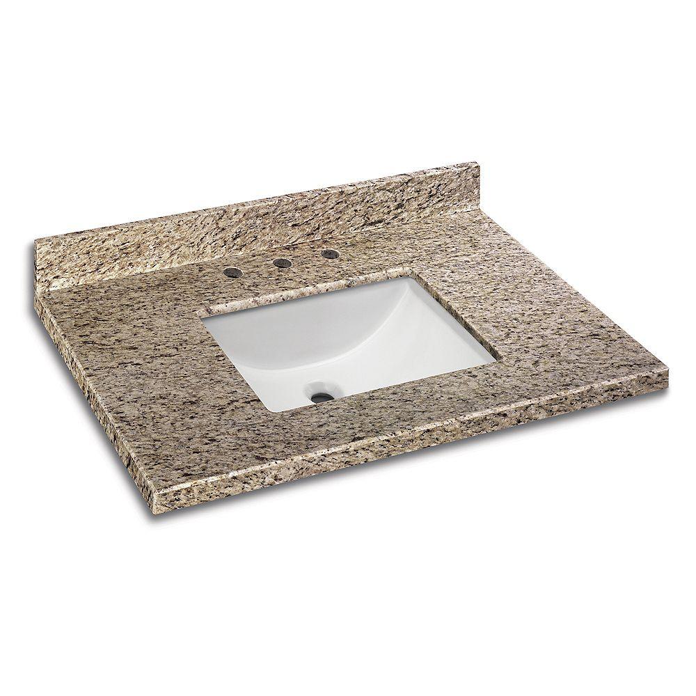 Glacier Bay Revêtement de comptoir pour meuble-lavabo avec lavabo de type abreuvoir de 94 cm x 55,9 cm (37 po x 22 po) en granit Giallo Ornamental