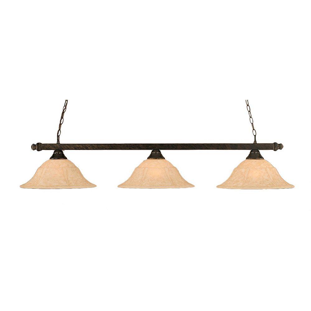 Filament Design Concord 3 lumières plafond Bronze Incandescent Bar de billard avec un verre marbre italien