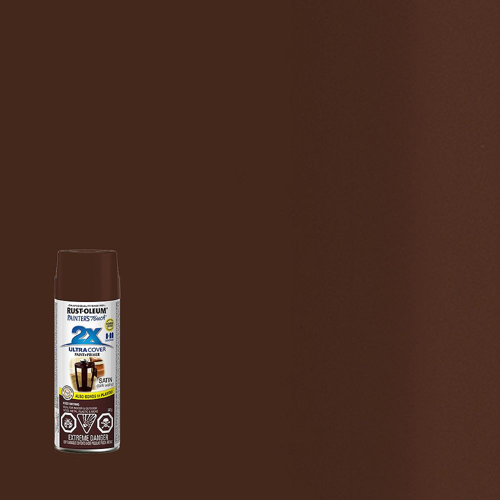 Rust-Oleum Painter's Touch 2X Ultra Cover Multi-Purpose Paint And Primer in Satin Dark Walnut, 340 G Aerosol Spray Paint