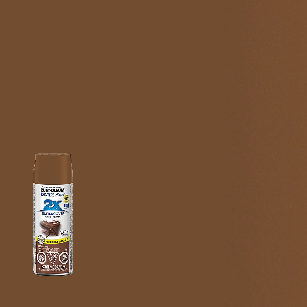 Rust-Oleum Painter's Touch 2X Ultra Cover Multi-Purpose Paint And Primer in Satin Nutmeg, 340 G Aerosol Spray Paint
