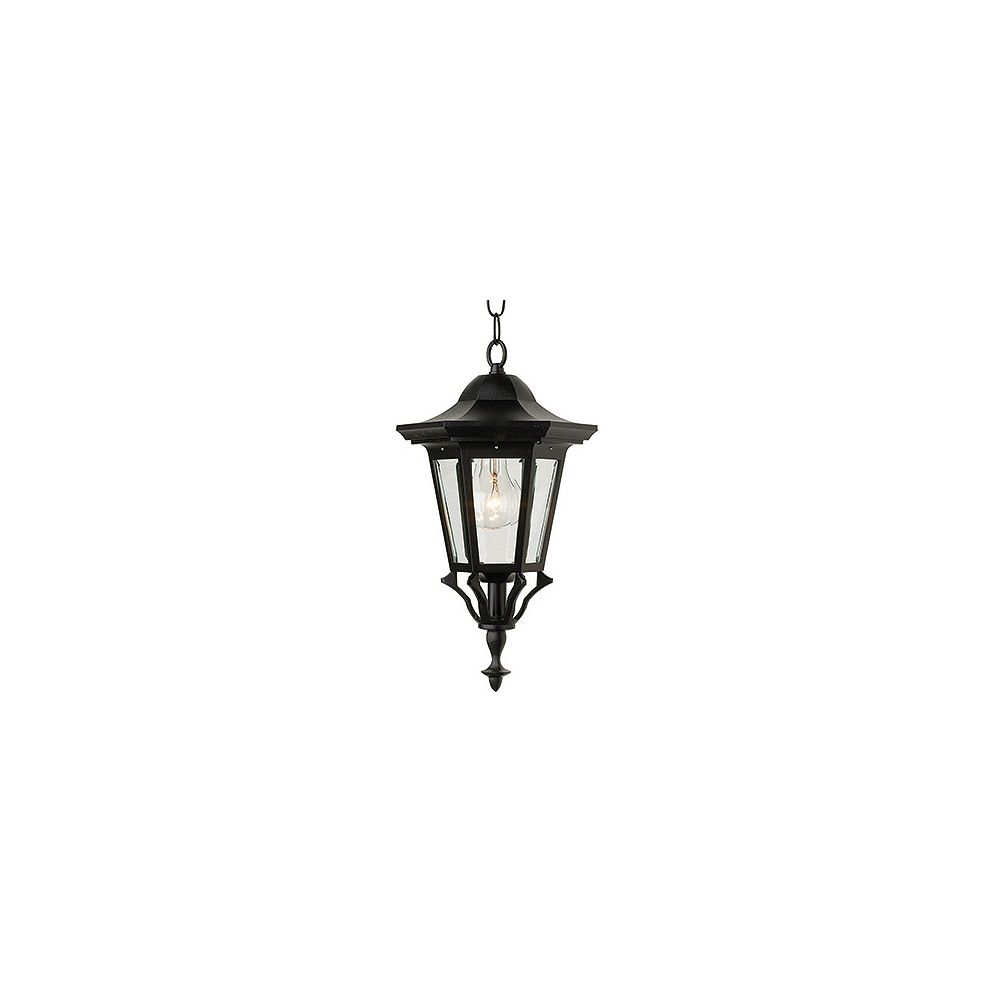 Snoc Prestige Series, Black With Clear Beveled Glass Panels, Chain Mount