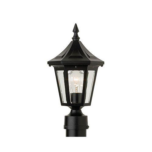 Elégant, luminaire sur poteau, panneaux de verre clair biseauté, noir (poteau non-inclus)