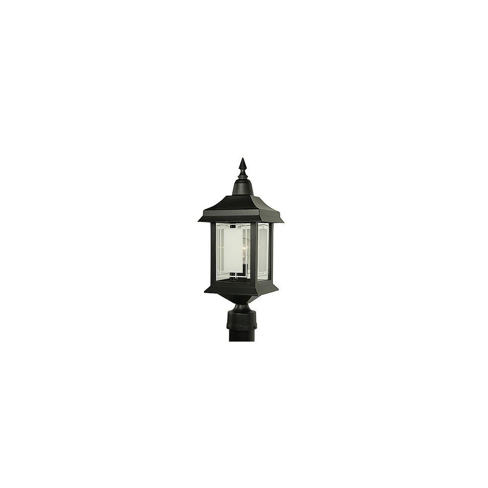 Snoc Victoria, luminaire sur poteau, panneaux de verre aux motifs givrés, noir (poteau non-inclus)